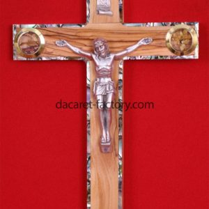 Latin Olive Wood Cross with Pearl-0