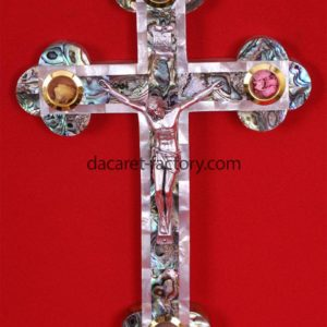 Orthodox Olive Wood Cross With Pearl-0