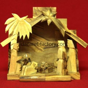 Small Traditional Olive wood nativity set-0