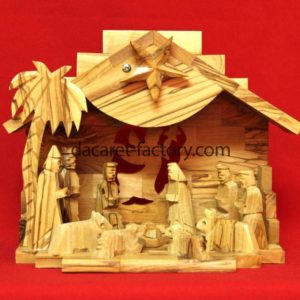 Angel Traditional Olive Wood Nativity Set With Music Box-0