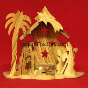 Artistic Tree Carving Olive Wood Nativity Set-0