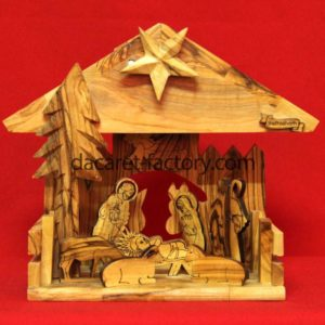 Artistic Tree Olive Wood Nativity Set With Music Box-0