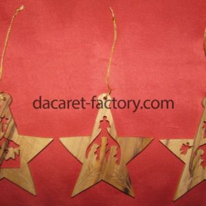 Star Olive Wood Christmas Ornaments-0