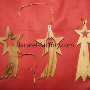 Shiny Star Olive Wood Christmas Ornaments-0