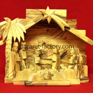 Traditional Star Olive Wood Nativity Set-0