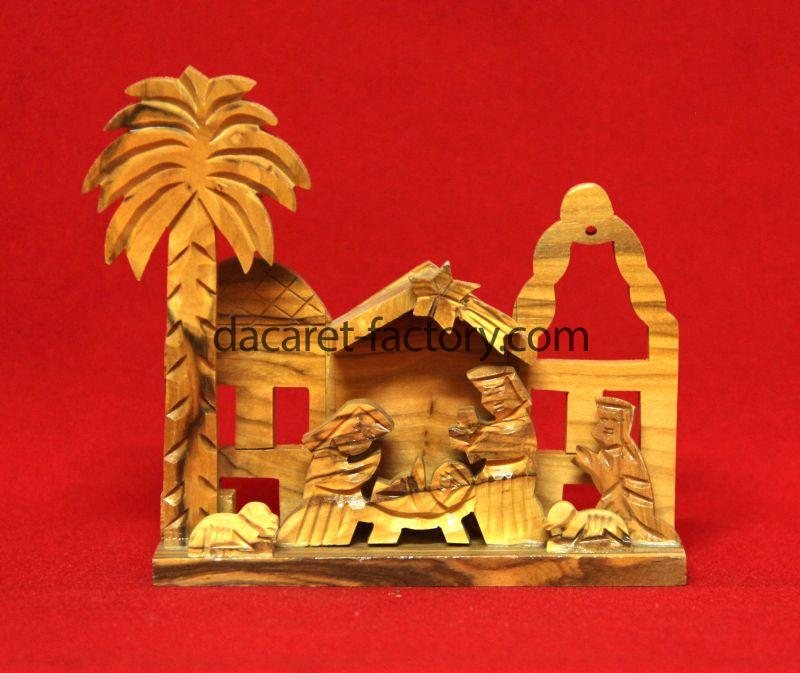 Carving Artistic Olive Wood Nativity Set Is Hand Made In Bethlehem City Holy Land